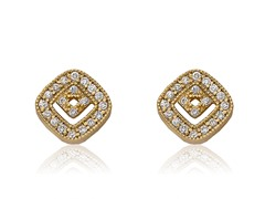 Riccova Retro 14K Gold  Plated CZ Square In Square Stud Earring
