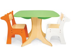 Tree Table with Giraffe & Zebra Chairs