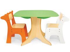 Tree Table with Giraffe & Zebra Chairs