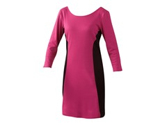 Colorblock Ponte Dress, Fuschia/Black