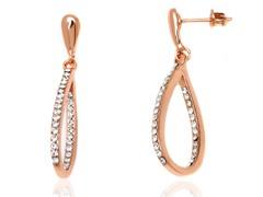 Rose Gold White Swarovski Element Open Teardrop Earrings