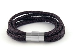 5 Tier Braided Leather Bracelet, Brown