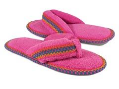 Muk Luks Darlene Micro Chenille Thong Slippers, Pink