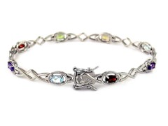 Sterling Silver Genuine Gemstone Bracelet