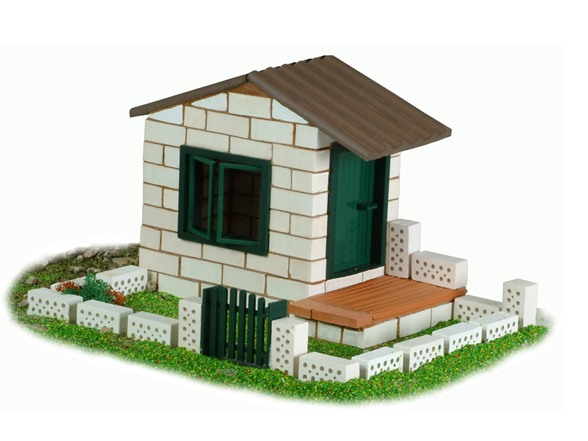 Teifoc white brick house set for Mud brick kit homes
