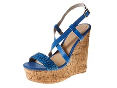 Carrini Strappy Braided Wedge Sandal, Blue