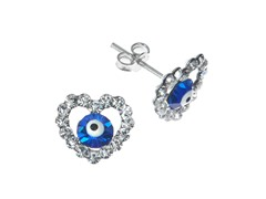 SS Heart Evil Eye Blue CZ Stud Earrings