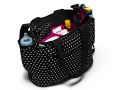Mini Dot Black Go-Go Diaper Tote
