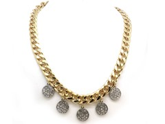 Clear Circle Crystal Pave Cuban Chain Necklace