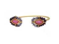Gold-Plated & Glass Bead Open Bangle - Purple