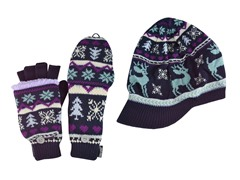 Visor Beanie & Flip Glove Fur Lined