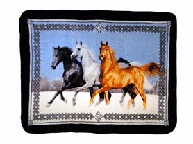 Hi Pile Printed 60x80 Throw-Horses