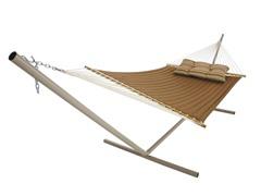 Quilted Sunbrella Hammock, Canvas Teak