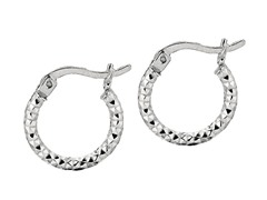 Etched Silver Hoop Earrings
