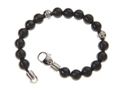 BlackJack Black Stainless Steel with CZ Ball Bracelet