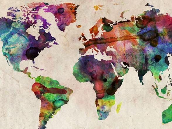 Urban Watercolor World Map 18x24 Canvas