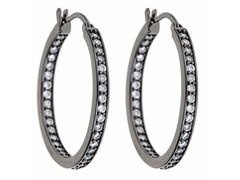 Rhodium Plated 35mm CZ Hoops