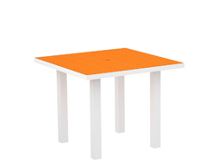 Euro Dining Table, White/Tangerine