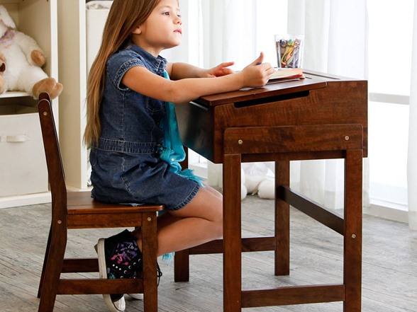 Casual Home Child's Slanted Top Desk and Chair (Walnut)