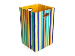 Rusty Stripes Canvas Folding Laundry Bin