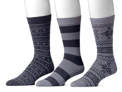 Muk Luks Men's 3 Pair Pack Socks, Grey