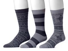 Muk Luks Men's 3 Pair Pack Socks, Grey