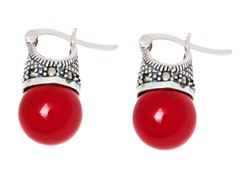 SS Shell Coral Genuine Gemstone Marcasite Drop Earrings