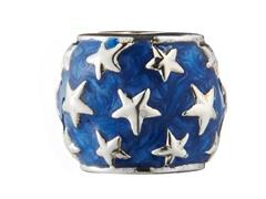 Sterling Silver Bead Blue Enamel & Stars