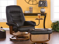 Bonded Leather Recliner & Ottoman-Black