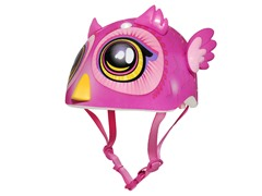 Pink Big Eyes Owl Miniz Bike Helmet (18-24 mo)