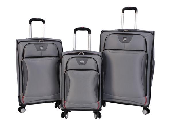 Sharper Image Index 3 Pc Softside Luggage Set Silver