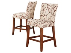 "24"" Brown Scroll Parson Stool - Set of 2"