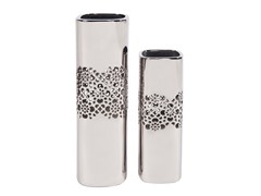 Nickel Tall Square Ceramic Vases Set of 2