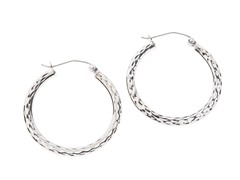 14kt Gold Patterned Hoop Earrings,White Gold