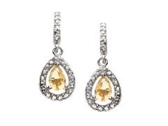 SS Citrine Gemstone w/Diamond Earrings