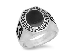 Men's Ring w/ Black Greek & Moon Accent