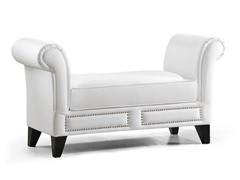 Marsha Scroll Arm Bench - White