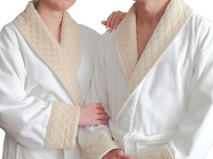 Terry Bathrobe with Beige Diamond Details