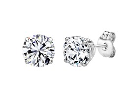 Sterling Silver 2 CT Round Swarovski Element Stud Earrings