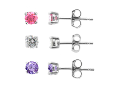 SS 3pc Earring Set, Clear/Amethyst/Pink