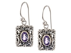 18kt Gold Accent Square Amethyst Earring