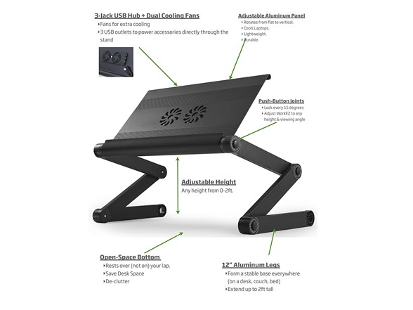 Uncaged Ergonomics Adjustable Cooling Laptop Stand