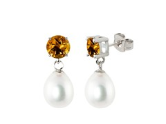 SS Freshwater Teardrop Pearl & Citrine Earrings