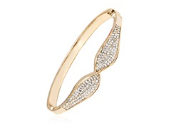 Gold/White Swarovski Elements Bow Bangle Bracelet