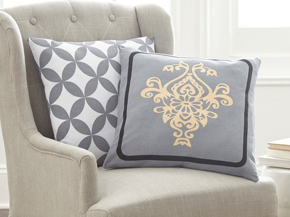 Newport Decorative Two Pack Pillows : 2-Pack 100% Cotton Decorative Pillows-Contempo Damask