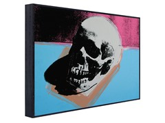 Skull (white on blue and pink)