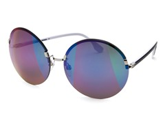Women's Sunglasses, Silver/Mirrored Purple Green