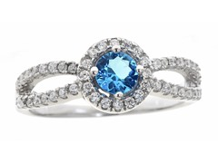 Light Blue Simulated Diamond Ring