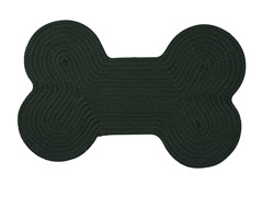 Dark Green Dog Bone Solid Rug - 3 Sizes
