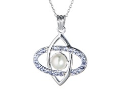 Silver Necklace w/ Pearl & Tanzanite